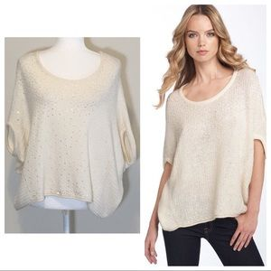 Free People Stardust Ivory Sequin Sweater Small